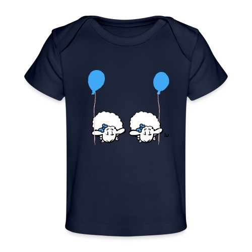 Baby Lamb Twins mit Ballon (blau & blau) - Baby Bio-T-Shirt