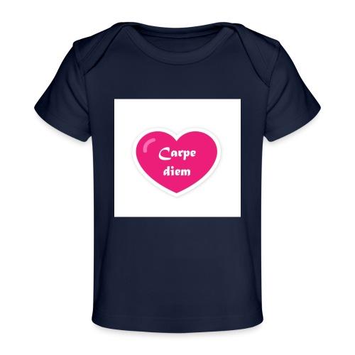 Spread shirt hjärta carpe diem vit text - Ekologisk T-shirt baby