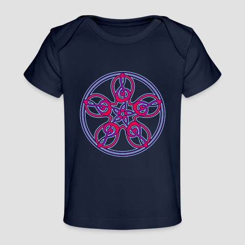 Treble Clef Mandala (red/violet/blue) - Organic Baby T-Shirt