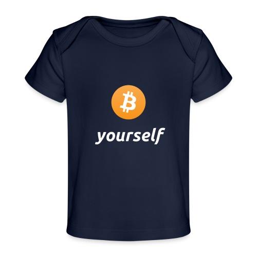 cryptocool b yourself white font -bitcoin logo - Baby bio-T-shirt