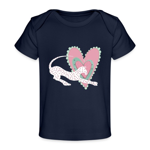 Vit katt rosa hjärta prickar - Ekologisk T-shirt baby