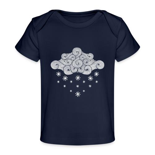 nuage blanc et flocons vacances d'hiver - T-shirt bio Bébé