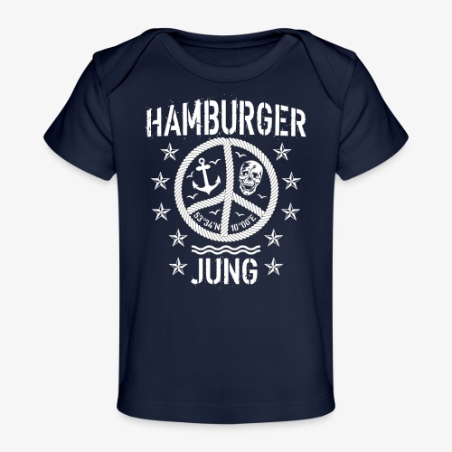 96 Hamburger Jung Peace Friedenszeichen Seil - Baby Bio-T-Shirt