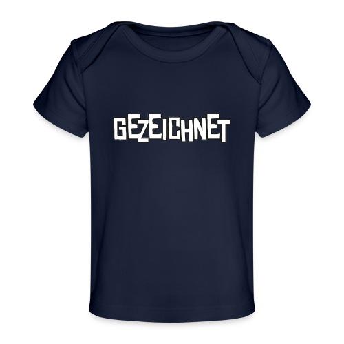 Gezeichnet Logo Weiss auf Transparent gross - Baby Bio-T-Shirt