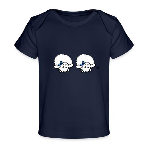 Baby lam tvillinger (blå og blå) - Økologisk baby-T-skjorte
