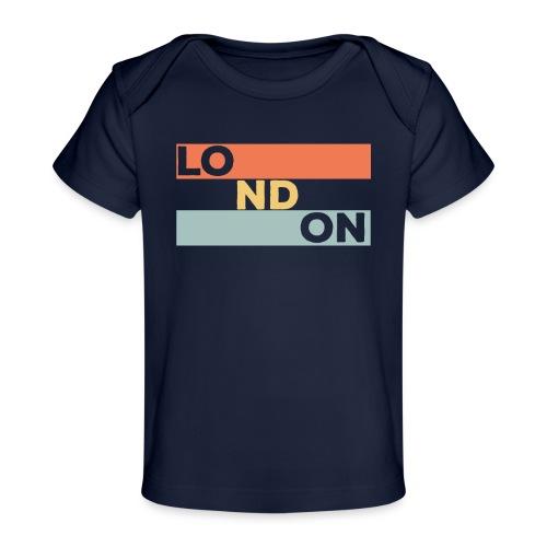 Vintage London Souvenir - Retro Streifen London - Baby Bio-T-Shirt