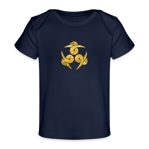 Three Geese Japanese Kamon in gold - Organic Baby T-Shirt