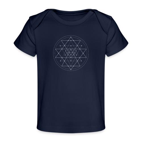 Harmaa geometrinen Shri Yantra -kuvio - Vauvojen luomu-t-paita