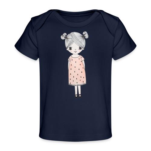 lachend meisje met knotjes - Baby bio-T-shirt