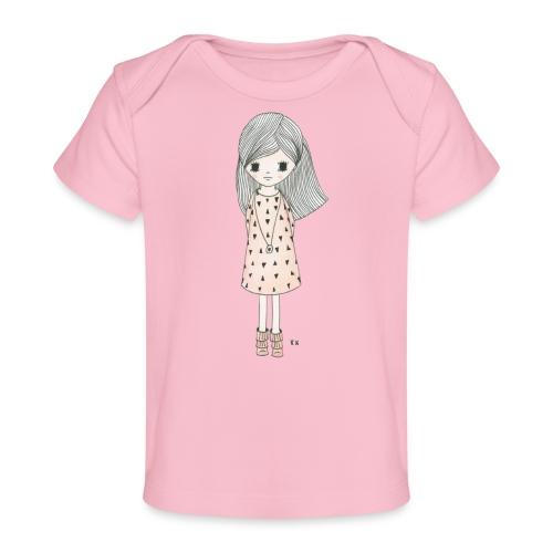 meisje met roze jurk - Baby bio-T-shirt