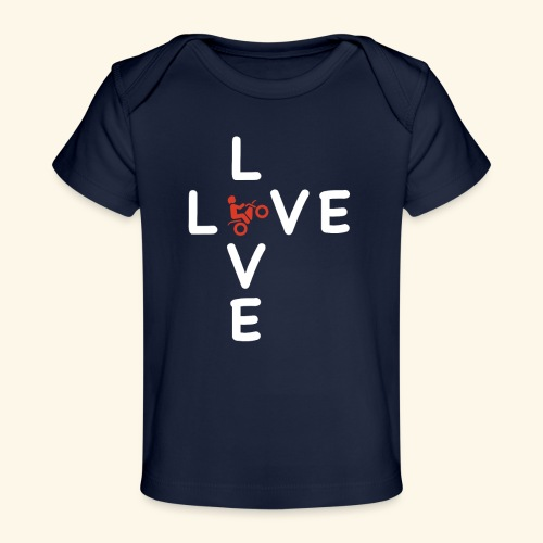 LOVE Cross white wheely red 001 - Baby Bio-T-Shirt