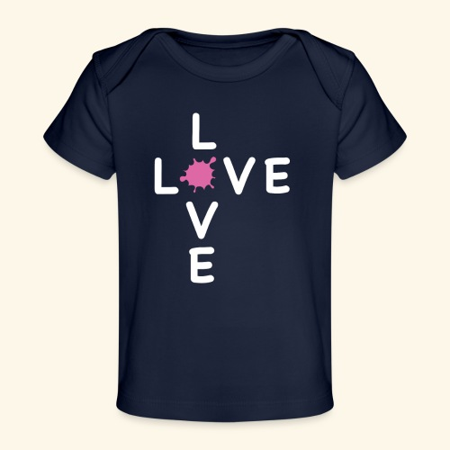 LOVE Cross white klecks pink 001 - Baby Bio-T-Shirt