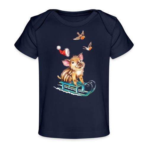 biggetje op slee - Organic Baby T-Shirt