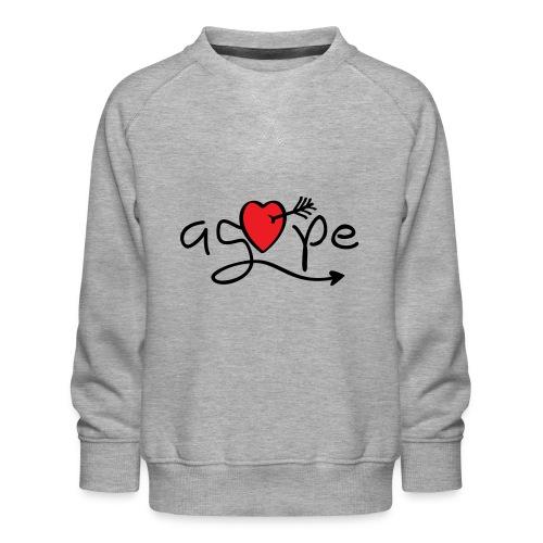 Slogan agape. Love, liefdeshart. Valentijnsdag. - Kinderen premium sweater