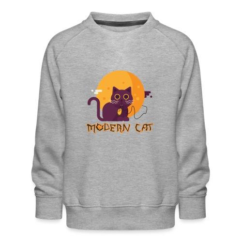 gatto moderno animale topo luna arte animale domestico - Felpa premium da bambini