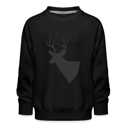 Silueta trofeo ciervo en negro. - Sudadera premium para niños y niñas