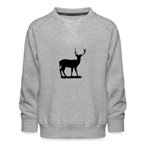 Silueta ciervo en negro - Sudadera premium para niños y niñas