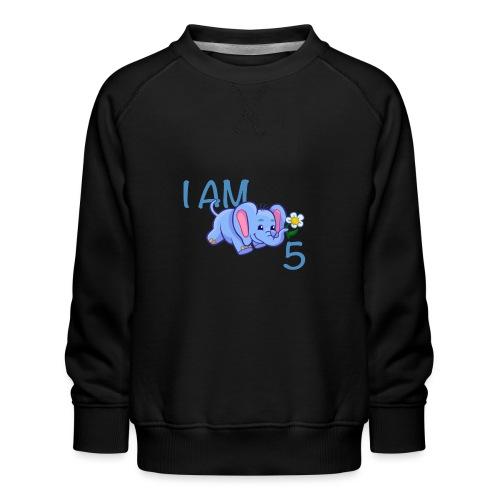 I am 5 - elephant blue - Kids' Premium Sweatshirt