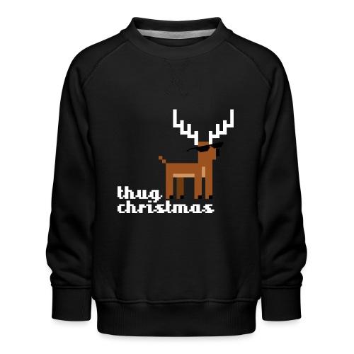 Christmas Xmas Deer Pixel Funny - Kids' Premium Sweatshirt
