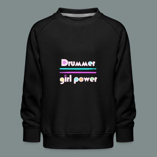 Drummer girlpower rose - idee cadeau batteur - Sweat ras-du-cou Premium Enfant