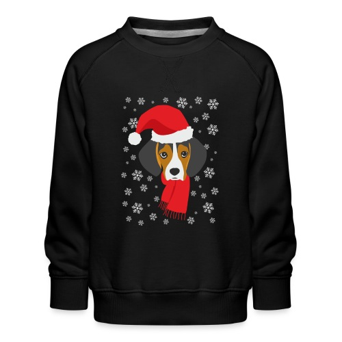 Perrito beagle vestido de Papá Noel - Sudadera premium para niños y niñas