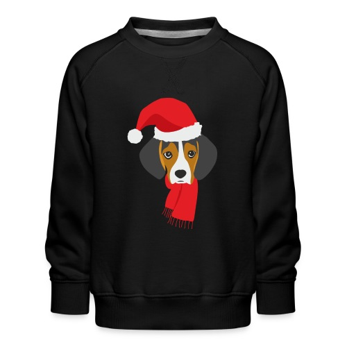 Cachorro de beagle vestido de Papa Noel - Sudadera premium para niños y niñas