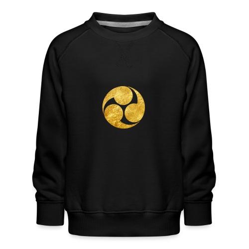 Kobayakawa Mon Japanese clan gold on black - Kids' Premium Sweatshirt