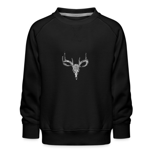 Deer skull with rose - Lasten premium-collegepaita