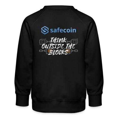 SafeCoin; Think Outside the Blocks (blue + white) - Kids' Premium Sweatshirt