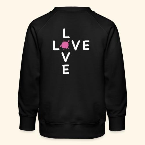 LOVE Cross white klecks pink 001 - Kinder Premium Pullover