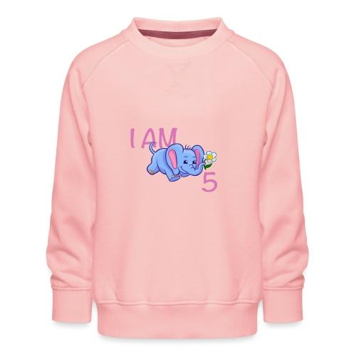 I am 5 - elephant pink - Kids' Premium Sweatshirt