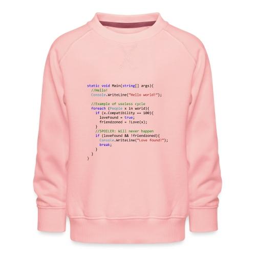 Love seen by a C# programmer - Felpa premium da bambini