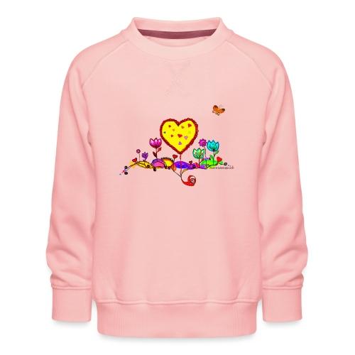 Blumengruß mit Herz - Kinder Premium Pullover