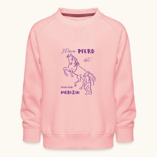 Mein Pferd ist meine Medizin lila Geschenk Spruch - Sweat ras-du-cou Premium Enfant