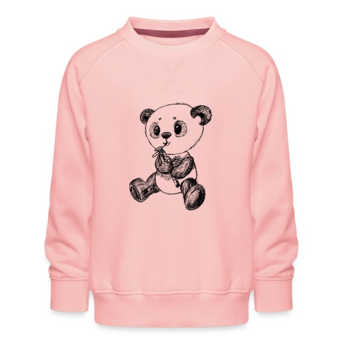 Panda bjørn sort scribblesirii - Børne premium sweatshirt