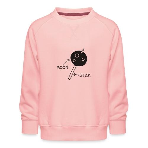 Moon on a Stick (white on dark background) - Kids' Premium Sweatshirt