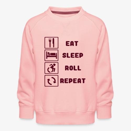 >Eten, slapen, rollen met rolstoel en herhalen 001 - Kinderen premium sweater