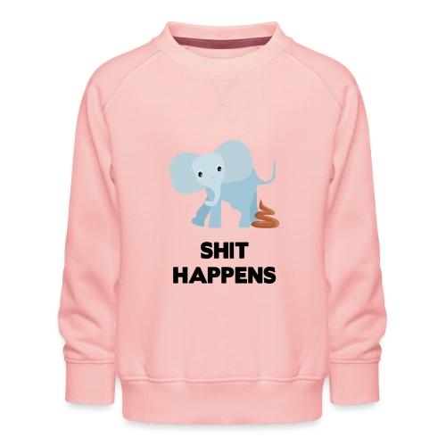 olifant met drol shit happens poep schaamte - Kinderen premium sweater