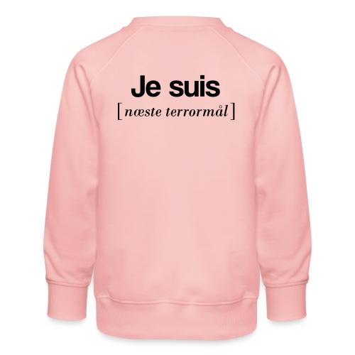 Je suis (sort skrift) - Børne premium sweatshirt