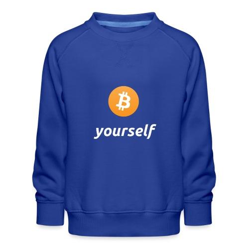 cryptocool b yourself white font -bitcoin logo - Kinderen premium sweater