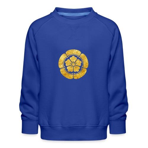 Oda Mon Japanese samurai clan faux gold on black - Kids' Premium Sweatshirt