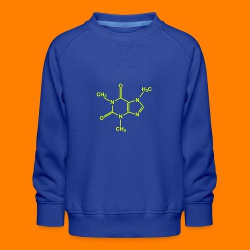 lime green caffeine molecule on navy tee - Kids' Premium Sweatshirt