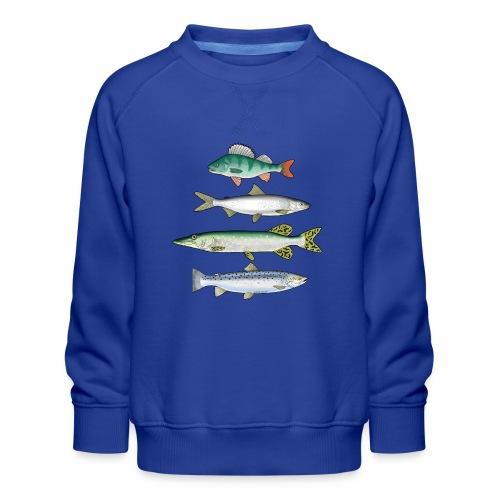 FOUR FISH - Ahven, siika, hauki ja taimen tuotteet - Lasten premium-collegepaita