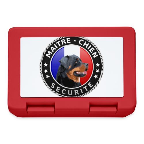 Ecusson rond noir Maitre-Chien Rottweiler - Boîte à goûter.