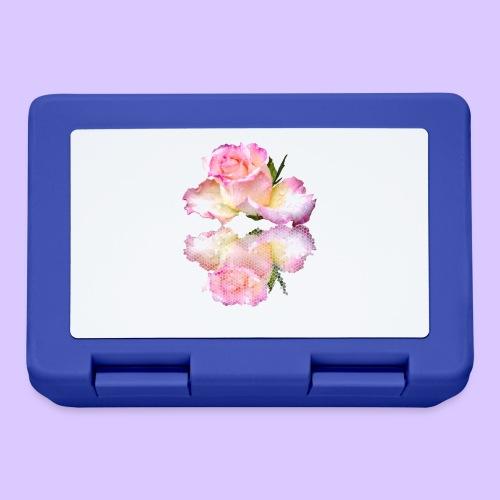pinke Rose mit Regentropfen im Spiegel, rosa Rosen - Brotdose