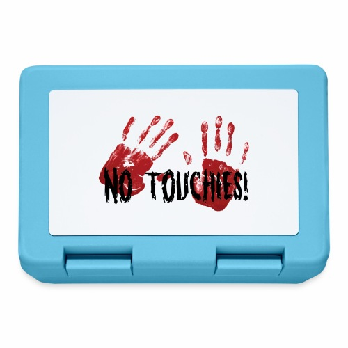 No Touchies 2 Bloody Hands Behind Black Text - Lunchbox
