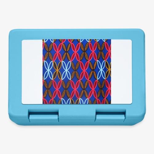Design motifs bleu rose orange marron - Boîte à goûter.
