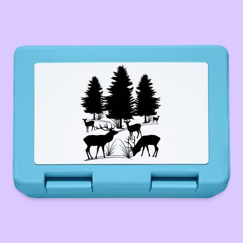 Tiere im Wald, Hirsch, Reh, Rehe, Bäume, Hirsche - Brotdose