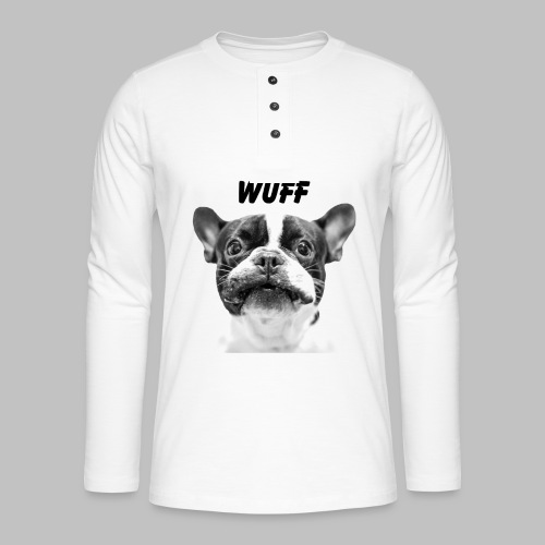 Wuff - Hundeblick - Hundemotiv Hundekopf - Henley Langarmshirt