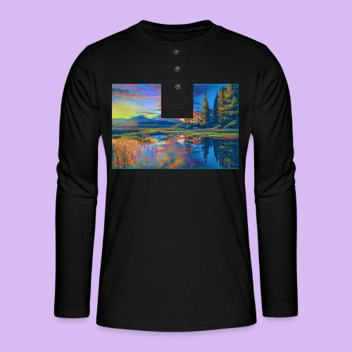 Paesaggio al tramonto con laghetto stilizzato - Maglia a manica lunga Henley
